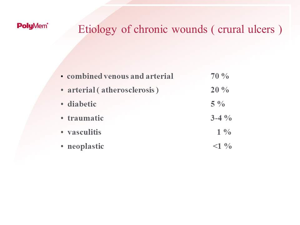 Etiology of chronic wounds ( crural ulcers )