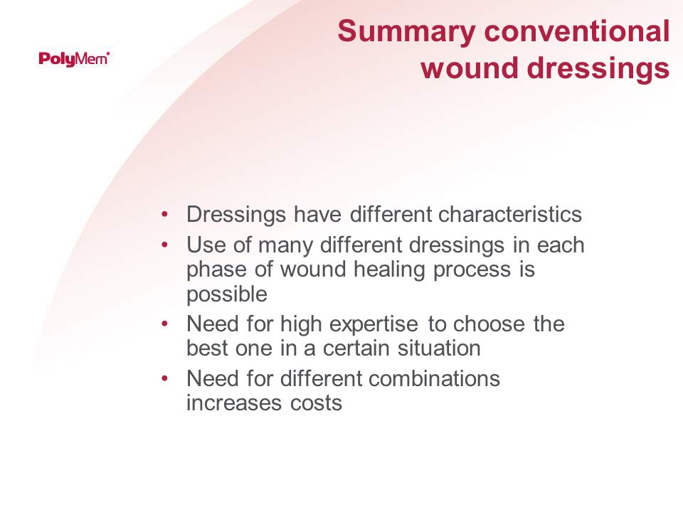 Summary conventional wound dressings
