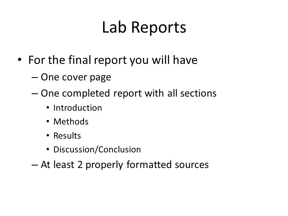 conclusion in a lab report