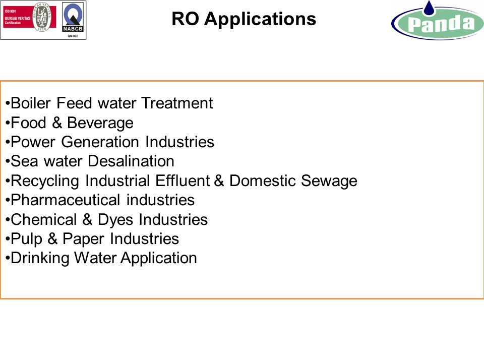 RO Applications Boiler Feed water Treatment Food & Beverage