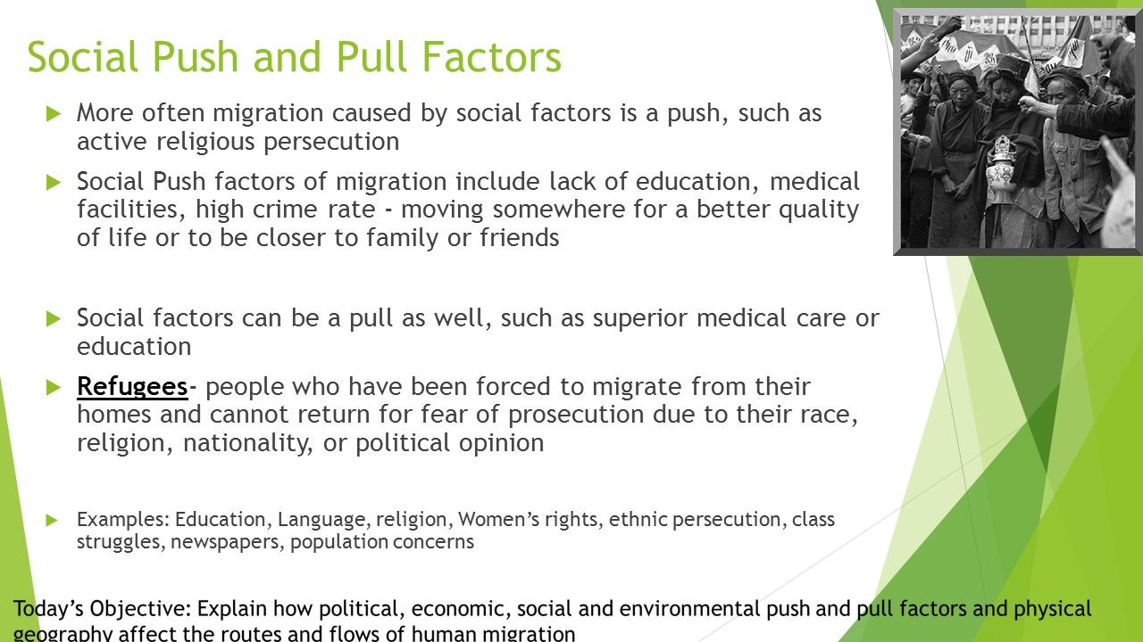 factors of migration Migration is made up of two actions emigration and immigration for migration to occur, emigration needs to take place, meaning that for someone to go to another country, they must leave the one they are in first two important factors are the.