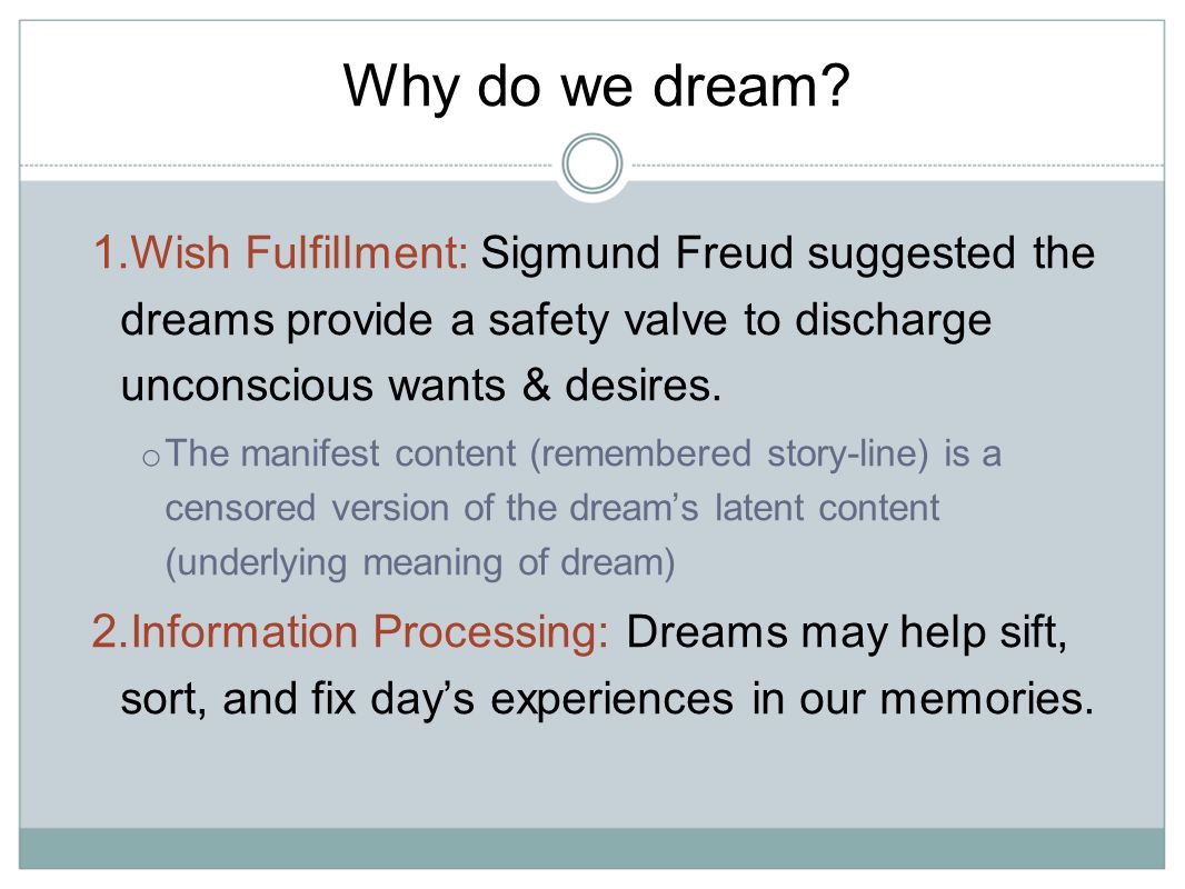 dreams as a wish fulfillment essay Start studying unit 5 psychology sleep and dreams terms learn vocabulary, terms what is the criticism for freud's wish-fulfillment theory.