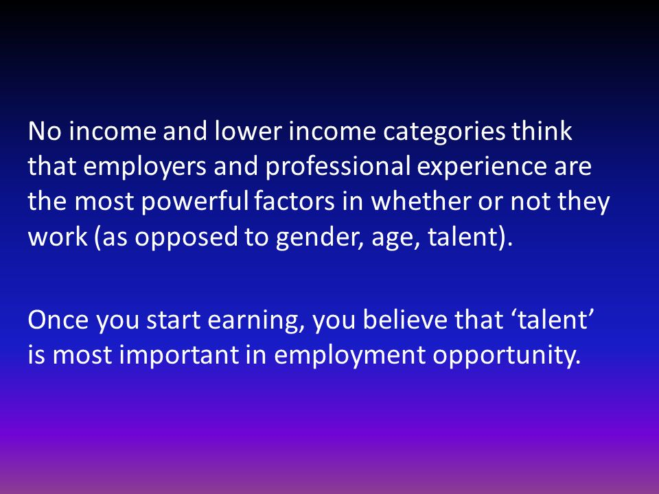 No income and lower income categories think that employers and professional experience are the most powerful factors in whether or not they work (as opposed to gender, age, talent).