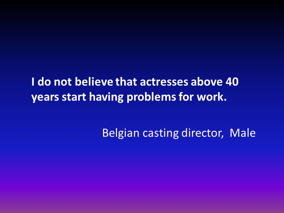 I do not believe that actresses above 40 years start having problems for work.