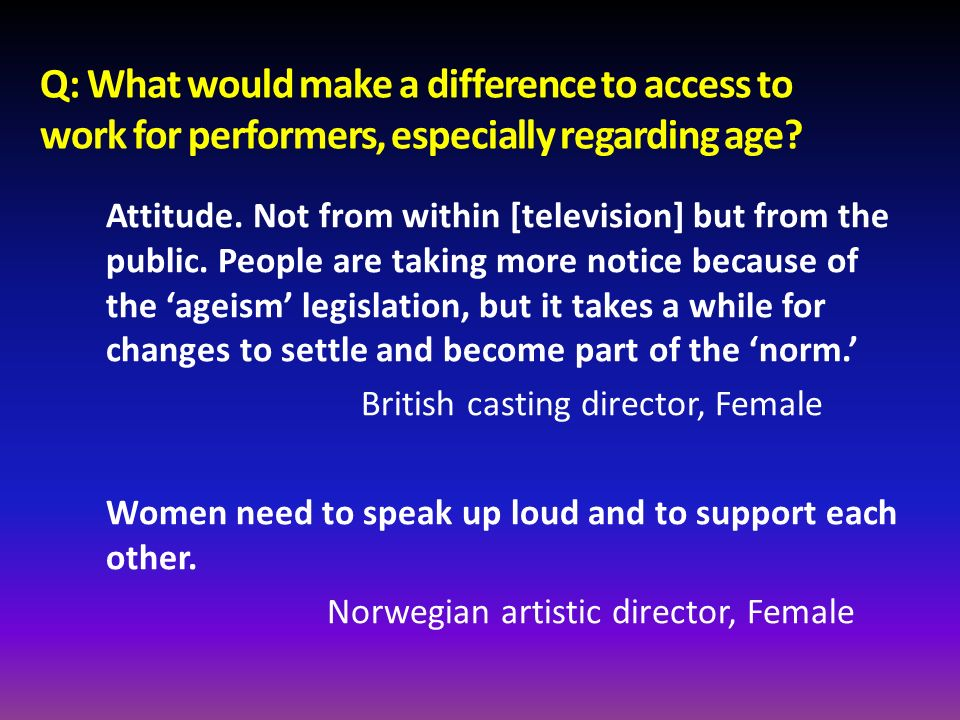 Q: What would make a difference to access to work for performers, especially regarding age