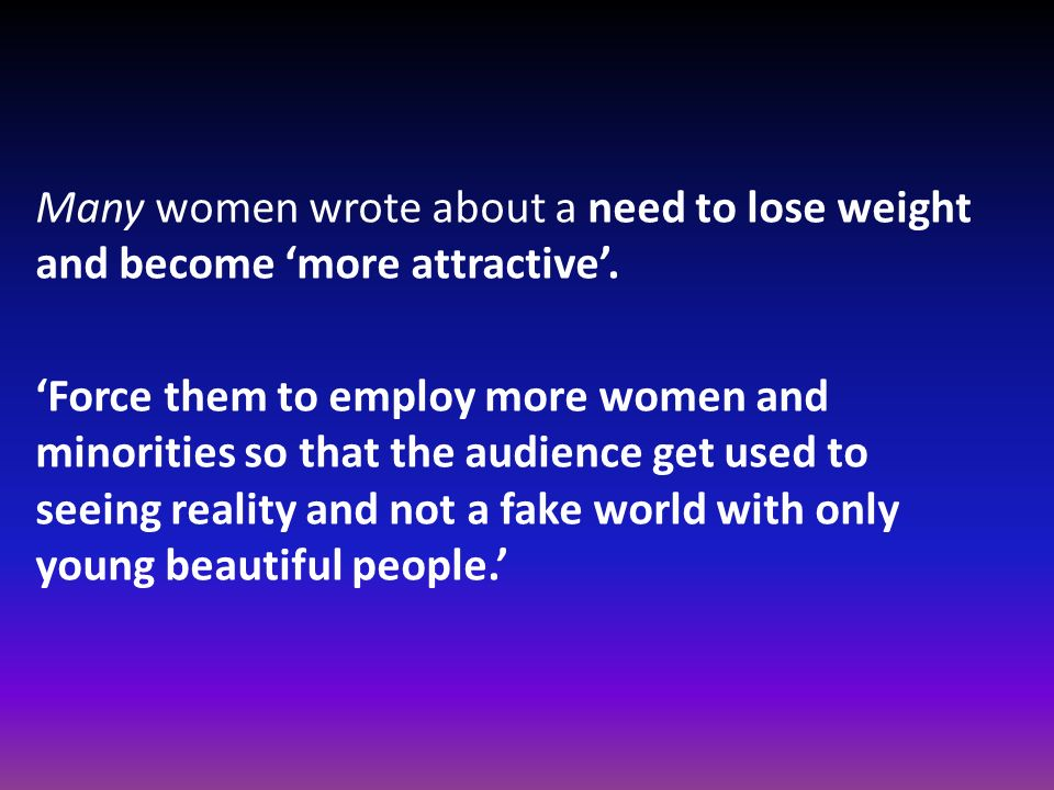 Many women wrote about a need to lose weight and become 'more attractive'.