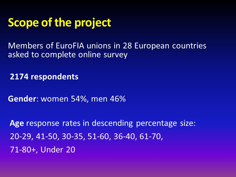 Scope of the project Members of EuroFIA unions in 28 European countries asked to complete online survey.