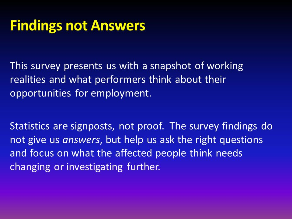 Findings not Answers