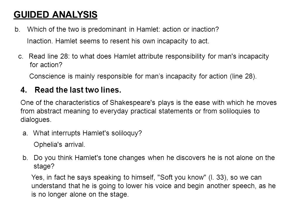 hamlets soliloquy to be or not Hamlet examined through soliloquies soliloquies and set speeches have a pride of place in both shakespeare's plays and those of other elizabethan and jacobean playwrights the origin of soliloquy lies in classical sources, particularly, the latin plays, poems, and orations that shakespeare would.