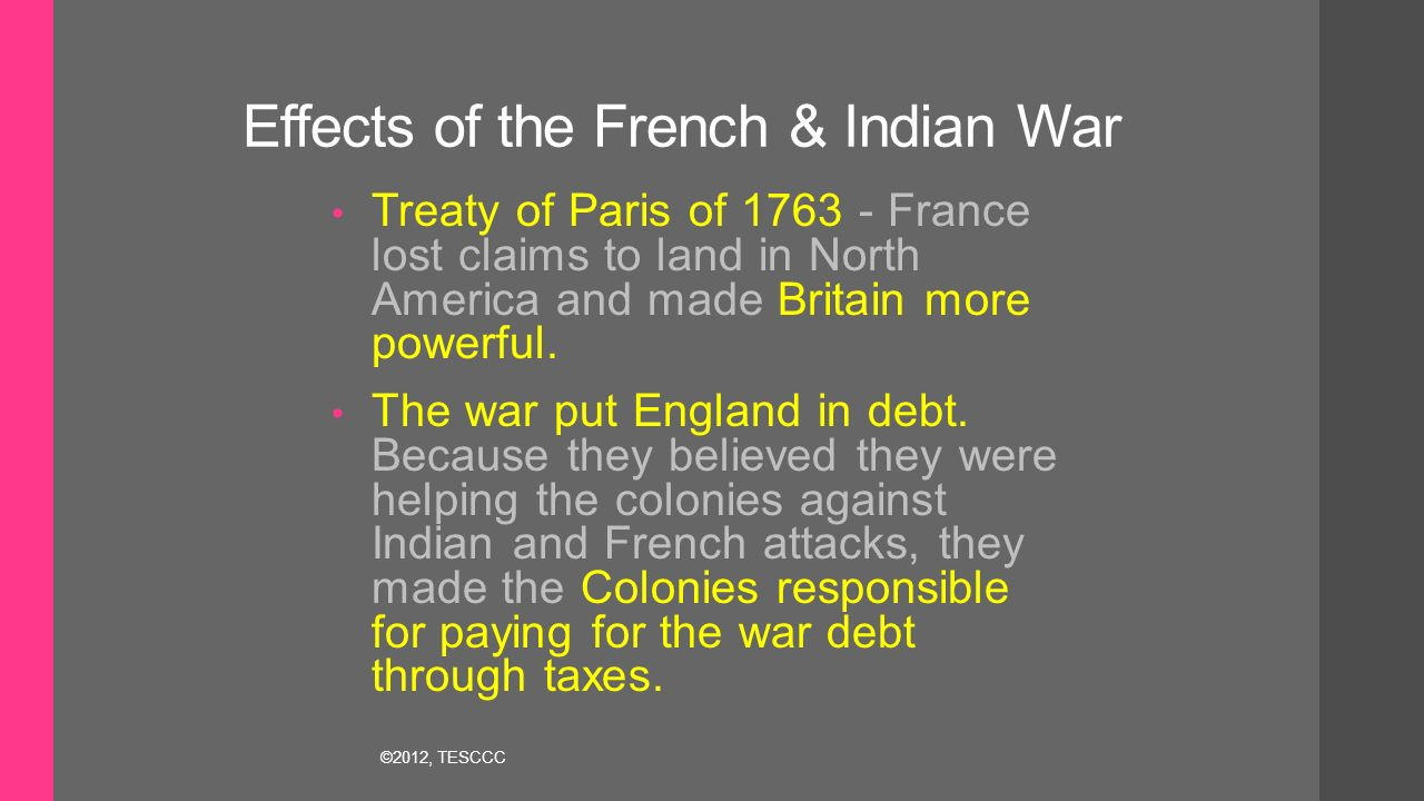 an analysis of the aftermath of the french and indian war What do you think is the meaning of this cartoon  22 years old during french  and indian war • surrendered to french troops at fort necessity,  and what  stayed the same from the period before the war to the period after it.