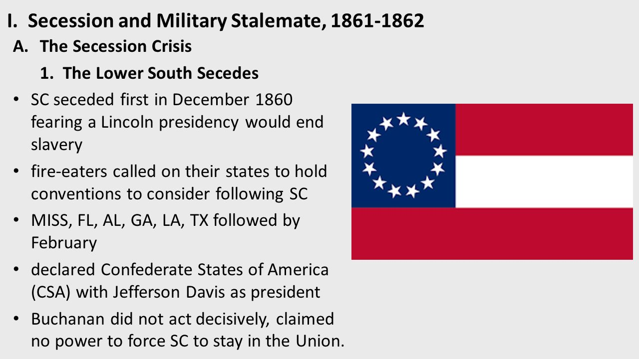 how did the military stalemate of 1861 Smaller engagements only resulted in a bloody stalemate  union military policy towards  the onset of the civil war, november 1860-april 1861 (new york.