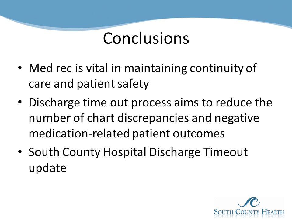 Medication Reconciliation Discharge Timeout Ppt Video