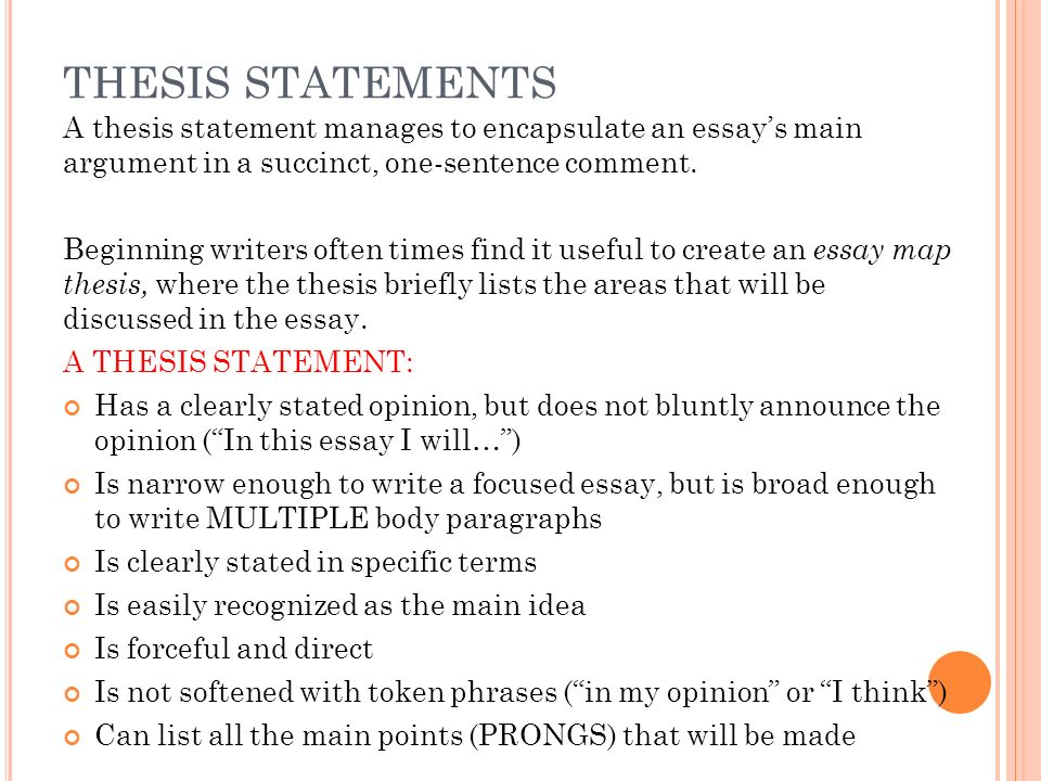 thesis statement paragraph outline