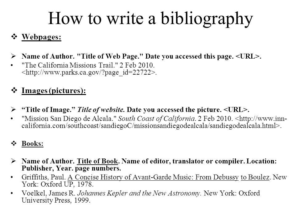 how do i write a bibliography