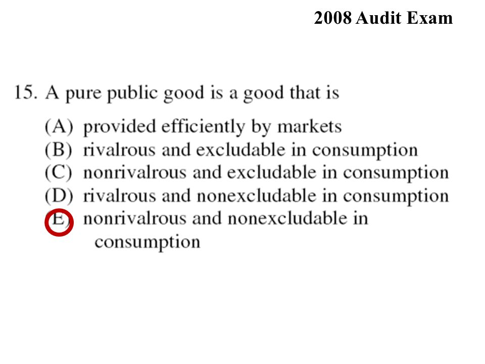 2008 Audit Exam 76% 15. E