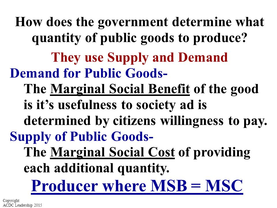 They use Supply and Demand Producer where MSB = MSC