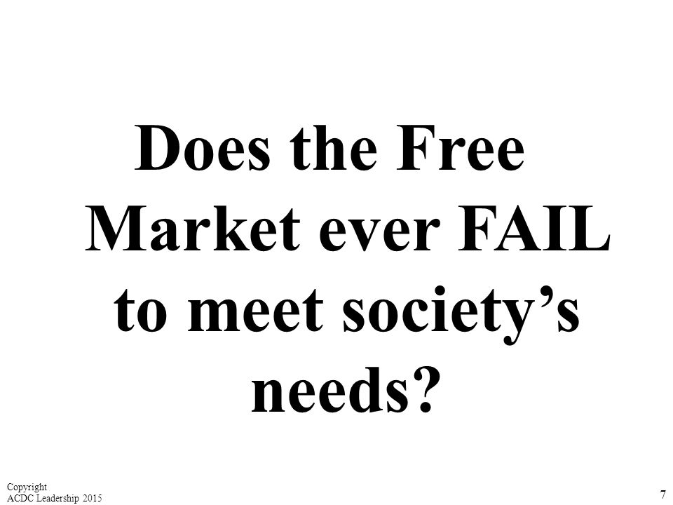 Does the Free Market ever FAIL to meet society's needs