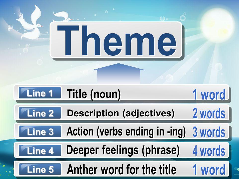 Theme Title (noun) 1 word 2 words Description (adjectives)