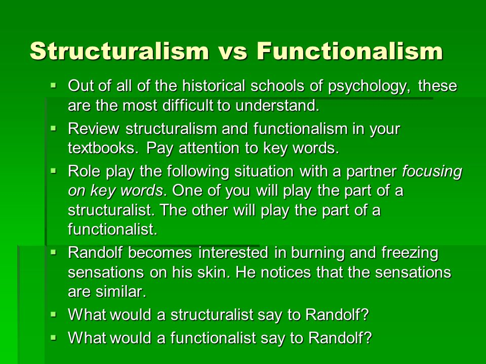 structuralism in psychology What is the difference between structuralism and functionalism both structuralism and functionalism emphasize that elements are interconnected, but the manner.