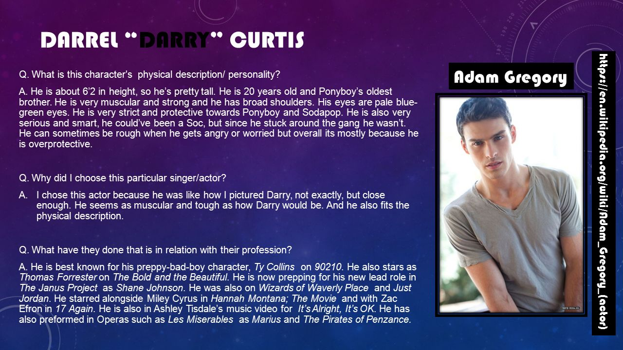 the outsiders darry curtis Detailed analysis of characters in s e hinton's the outsiders  darry curtis,  older brother of ponyboy and soda, functions as the head of the.