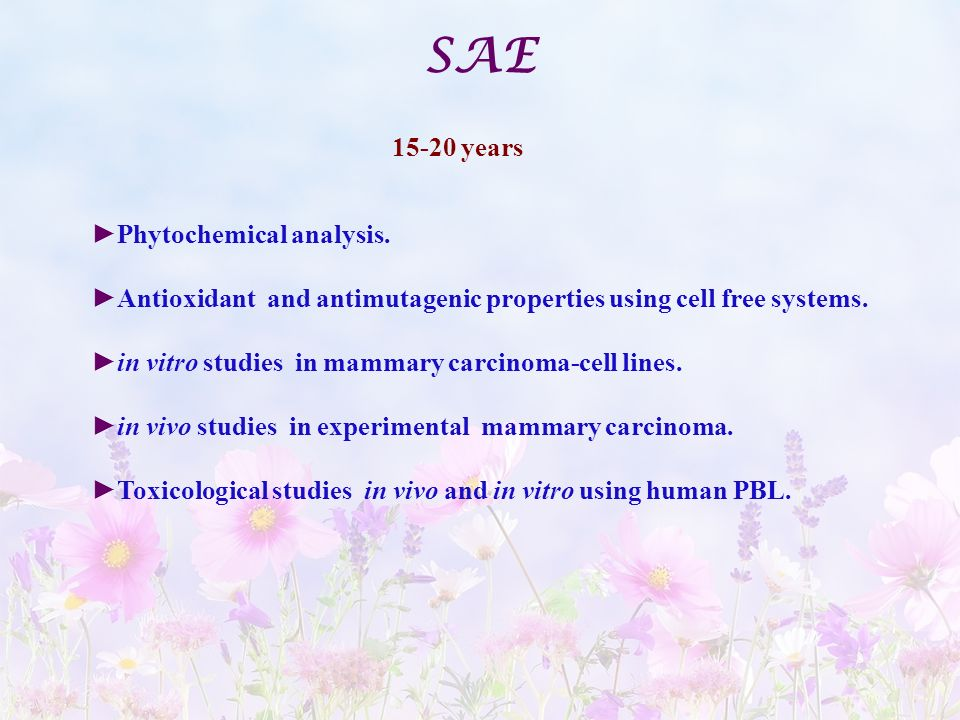 SAE years Phytochemical analysis.