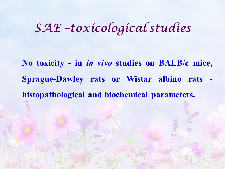 SAE –toxicological studies