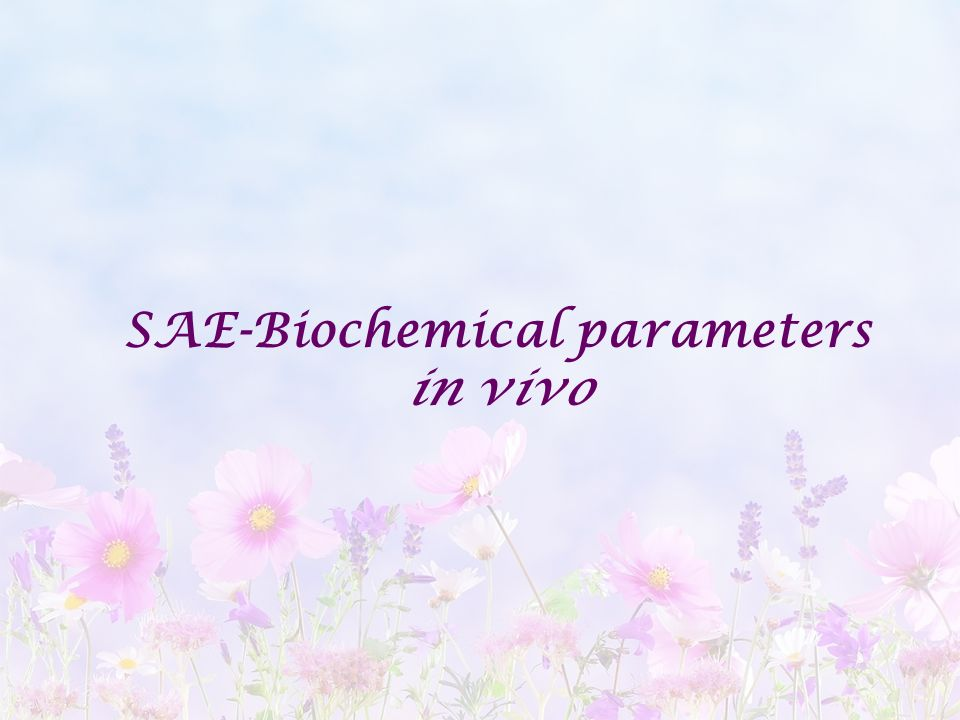 SAE-Biochemical parameters in vivo