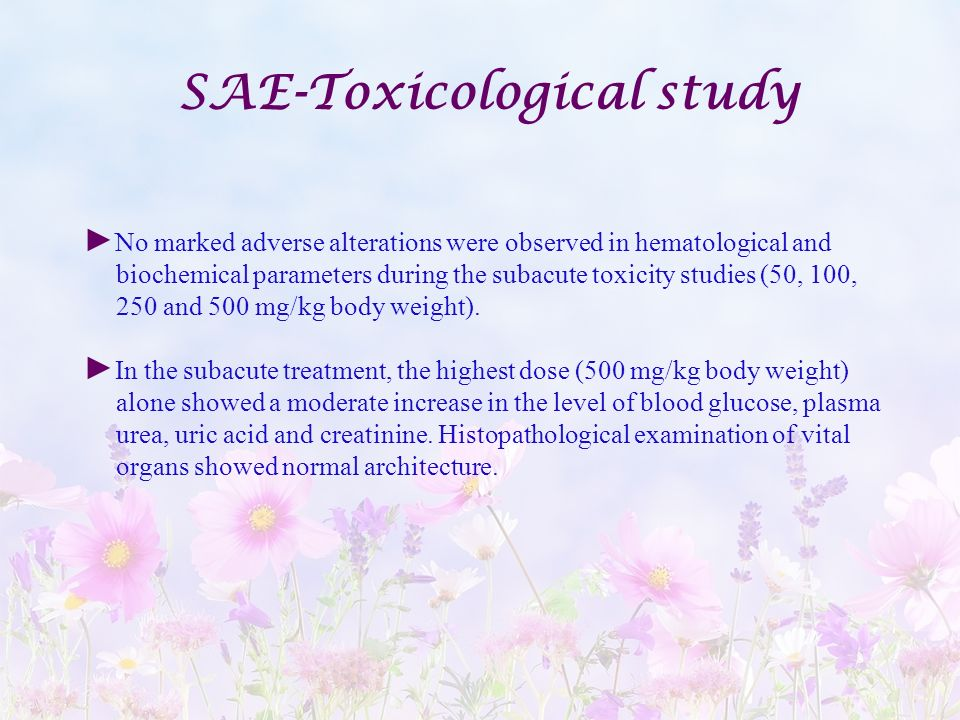 SAE-Toxicological study
