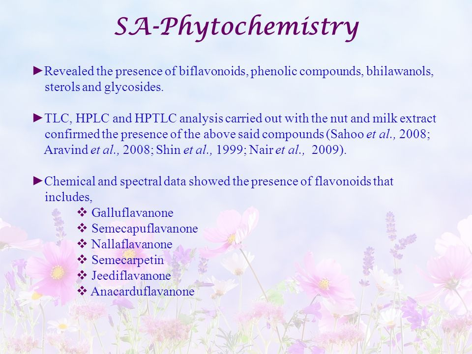 SA-Phytochemistry Revealed the presence of biflavonoids, phenolic compounds, bhilawanols, sterols and glycosides.