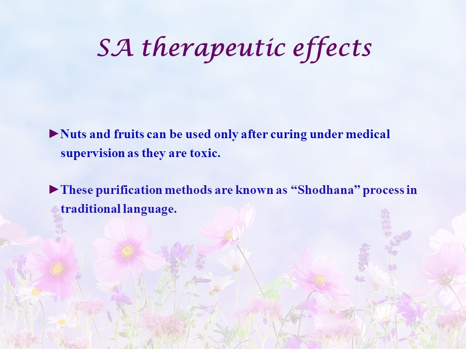 SA therapeutic effects