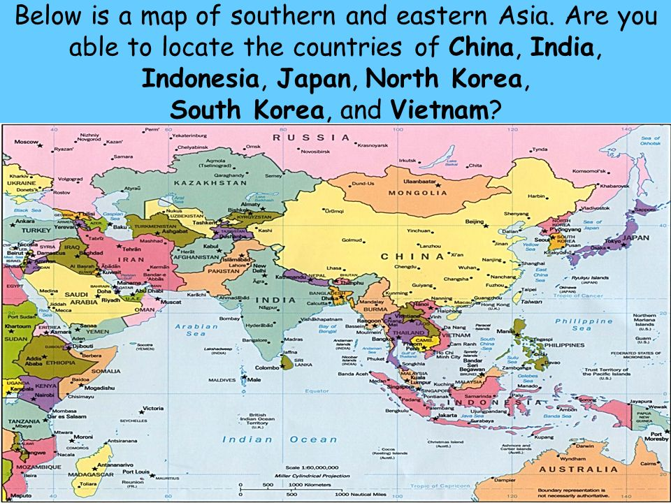 Southern and eastern asia geographic understandings ss7g9 the below is a map of southern and eastern asia gumiabroncs Images