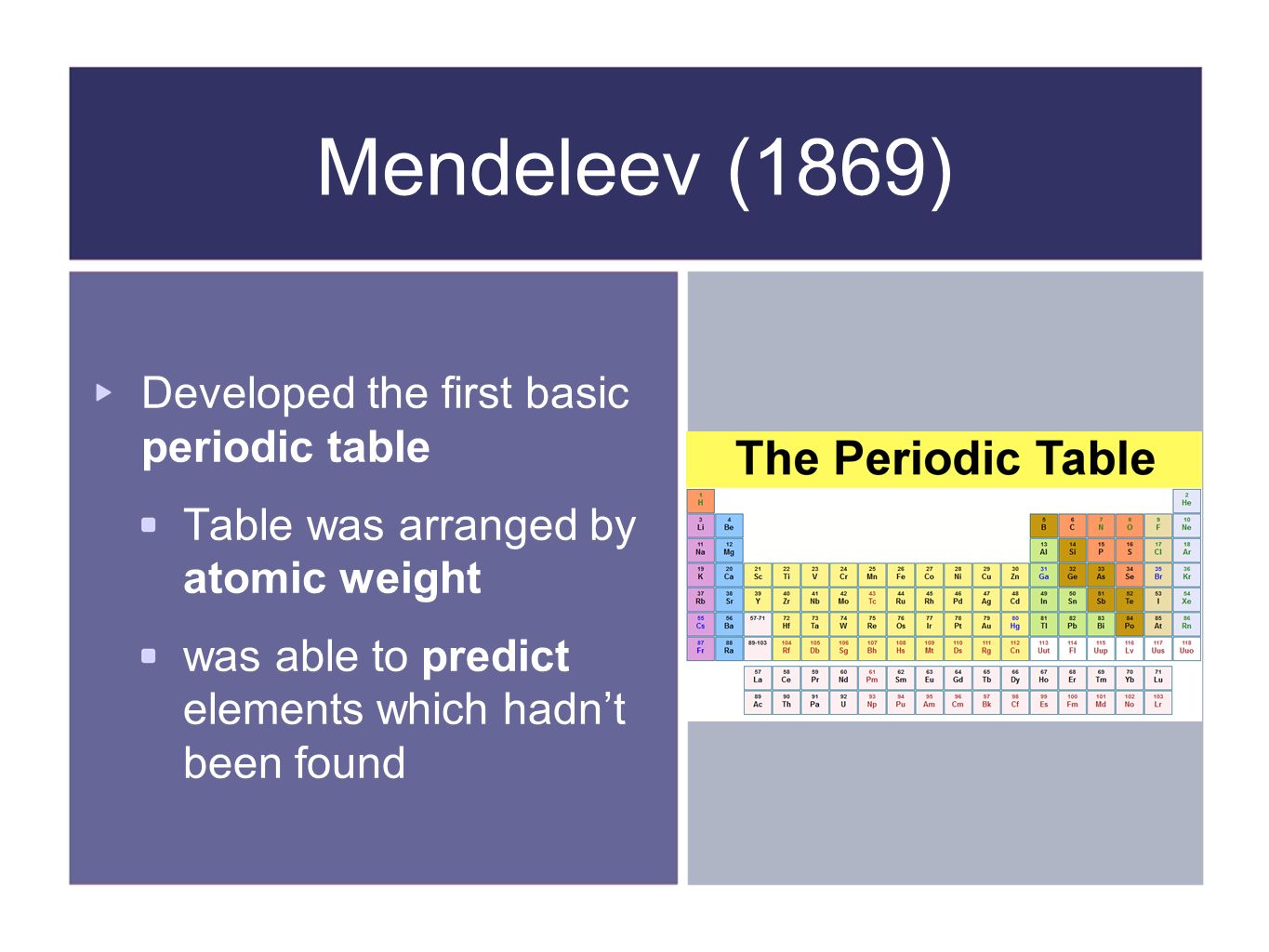 History of atomic theory ppt video online download mendeleev 1869 developed the first basic periodic table gamestrikefo Choice Image