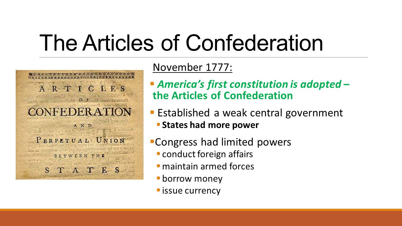 articles of confederation states relationship