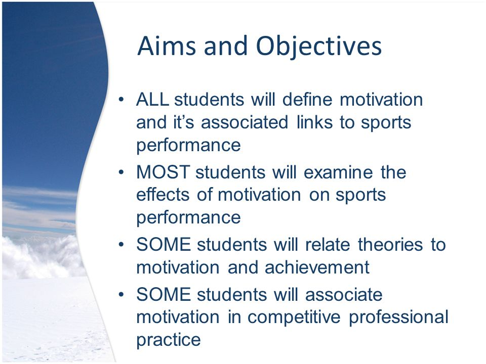 definition of motivation in sport Extrinsic motivation is 'external': people – in this case athletes – are driven to succeed by factors from outside ie money, prizes, acclaim, status, praise intrinsic motivation comes from within ie an athlete driven by a need to succeed because they want to be the best and are not .