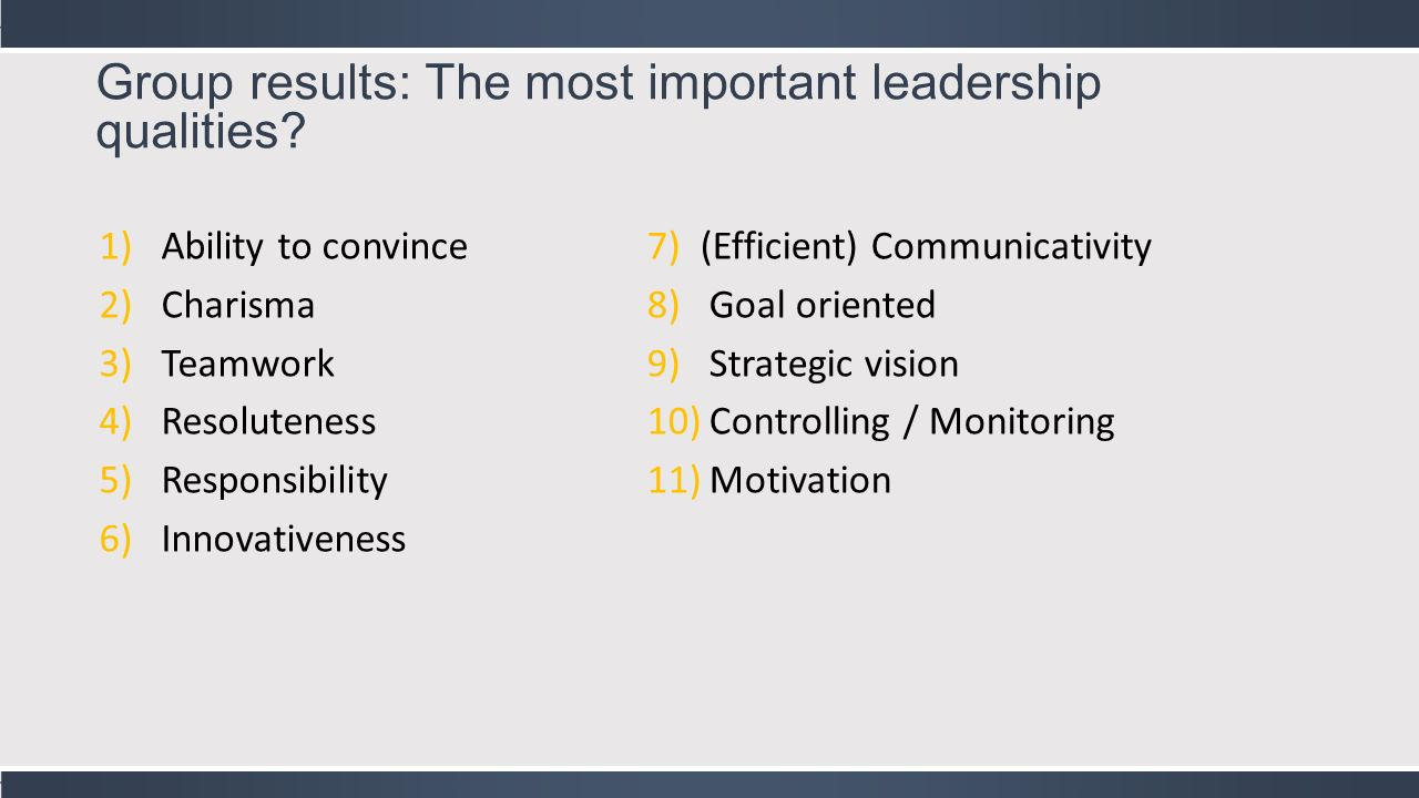 the three most important qualities to Here are the 8 most important skills you need to focus on today to be a better  leader  empathy, which are key traits to positively influence those around you   out surveys over three weeks about their perceptions of fairness.