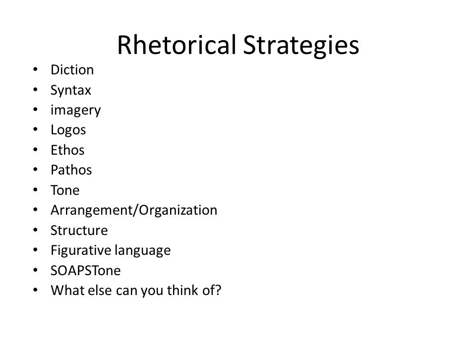 rhetorical strategies and essay structure Assignment #4 - rhetorical structure essay after closely analyzing the structure of two presidential inaugural addresses made by president obama and former.