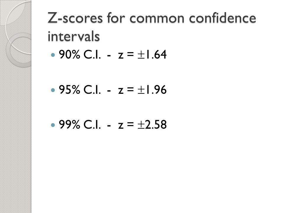Confidence intervals ppt video online download for Z score table for 99 confidence interval