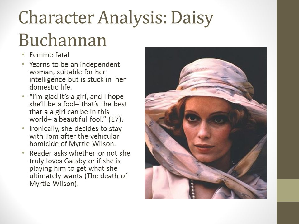 analysis of daisy of the great Later, nick sees jordan, and she tells him the story of daisy's and gatsby the two met when gatsby,  to link to this the great gatsby chapter 4 - summary page, .