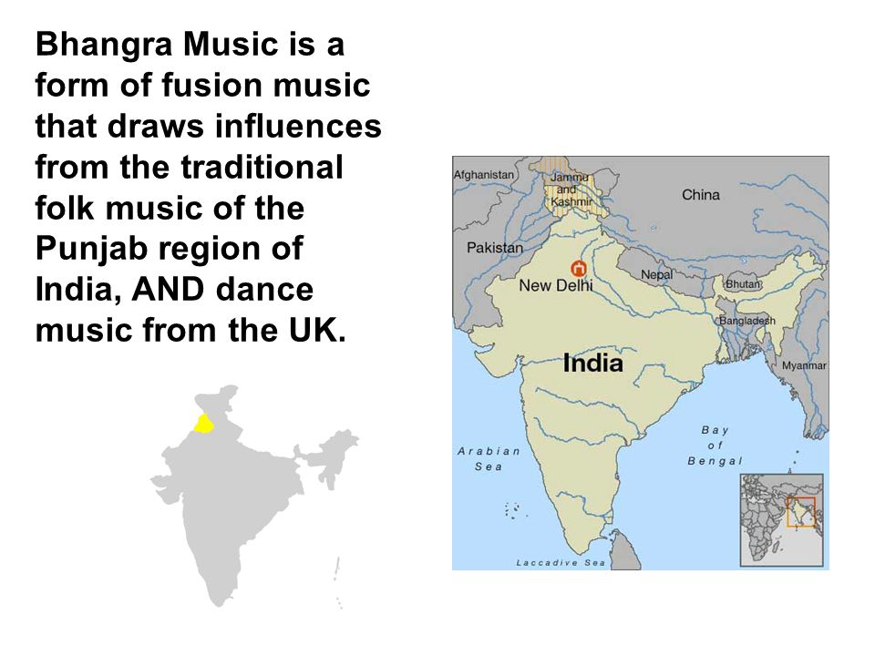 Bhangra Music is a form of fusion music that draws influences from the traditional folk music of the Punjab region of India, AND dance music from the UK.