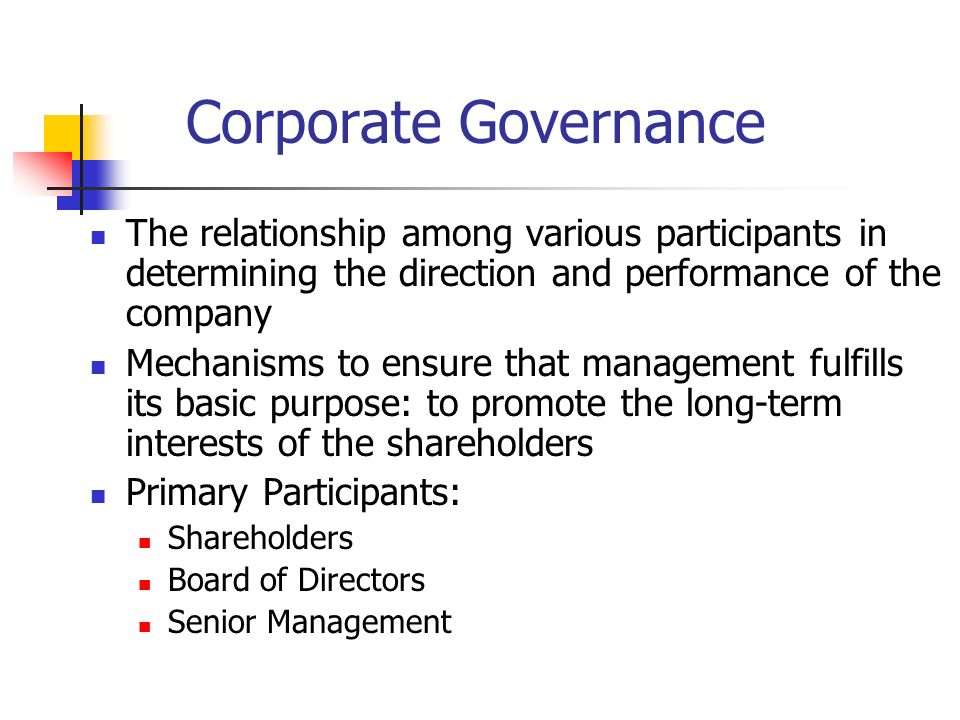 corporate governance and family business relationship Business by john d sullivan  corporate governance is typically perceived by academic literature as dealing with problems that result from the separation of ownership and control4 from this perspective, corporate  economy and the relationship between these rules and the way companies are governed.
