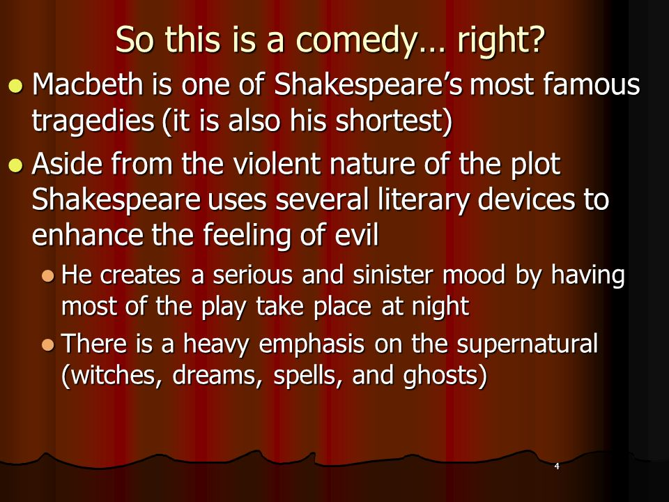 The supernatural events in the play macbeth by william shakespeare