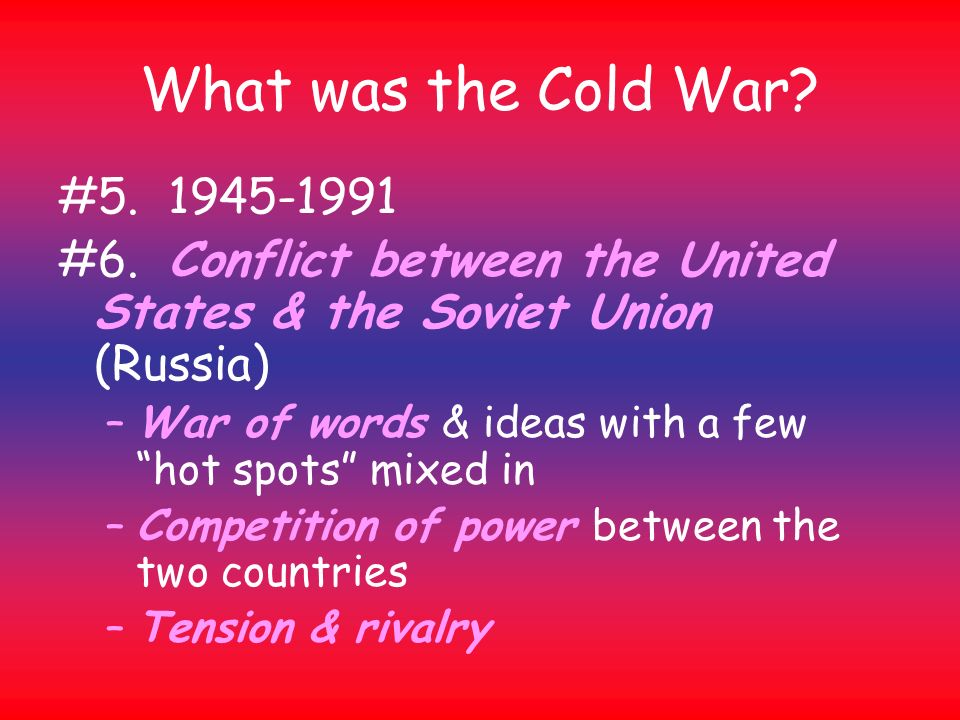 account of the cold war between the united states and the soviet union Plan your lesson in cold war era and aftermath 1945 - today and cold war with helpful tips from teachers like you by the end of the lesson, swbat to explain the economic differences between the soviet union and the united states by the end of the lesson swbat to define the ter.