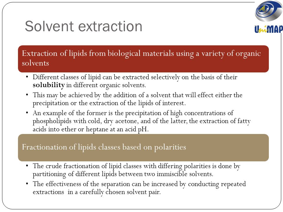 extraction of organic solvent Most organic solvents float on top of an aqueous phase, though important  exceptions are most halogenated solvents the organic solvent used for the  extraction.
