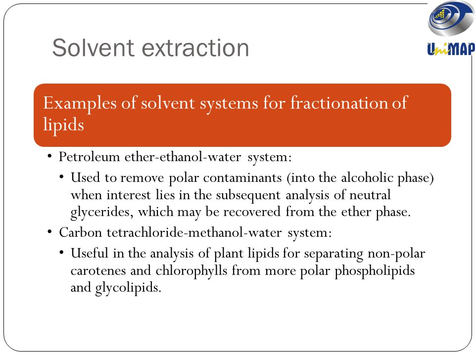 extraction of organic solvent Extraction is a convenient method for separating an organic substance from a mixture, such as an aqueous reaction mixture or a steam distillate the extraction solvent is usually a volatile organic liquid that can be.