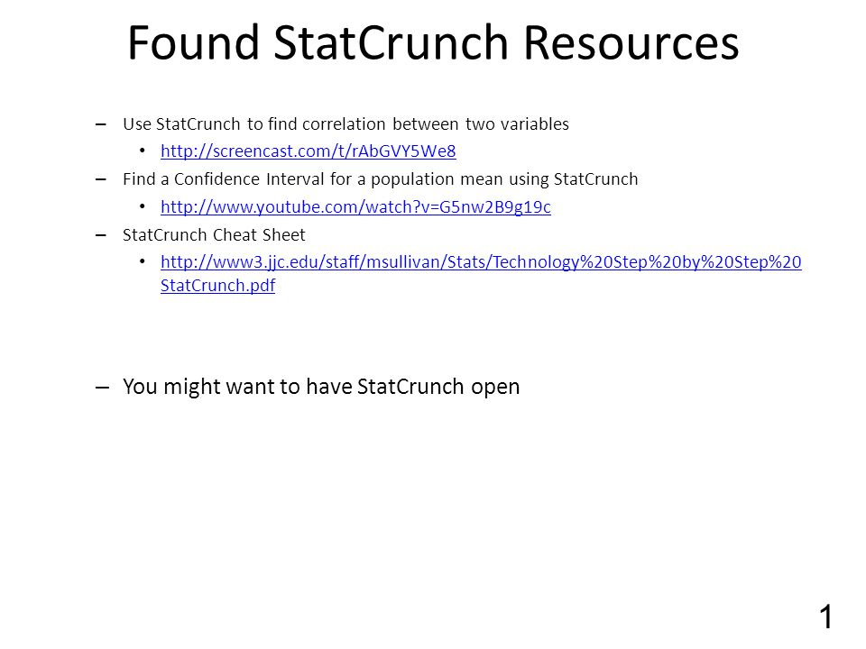 how to find confidence level in statcrunch