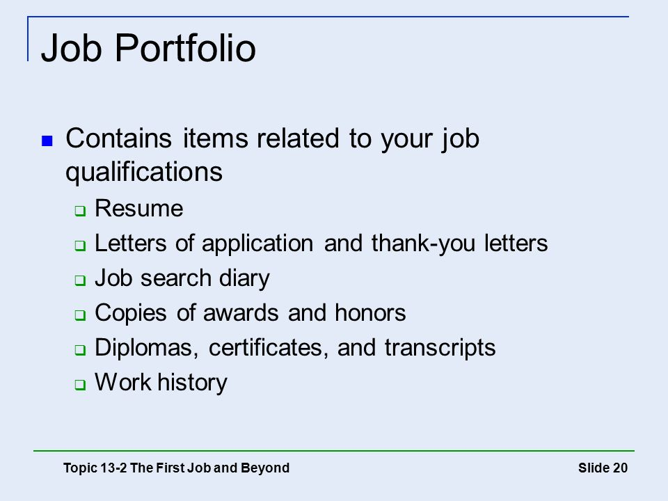 20 Job Portfolio ...  Job Qualifications