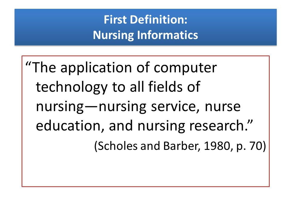 nursing informatics term paper A 3 page paper that explains what nursing informatics is and how it is beneficial the writer reports on the progress of electronic recording the writer also comments on the field of nursing administration.