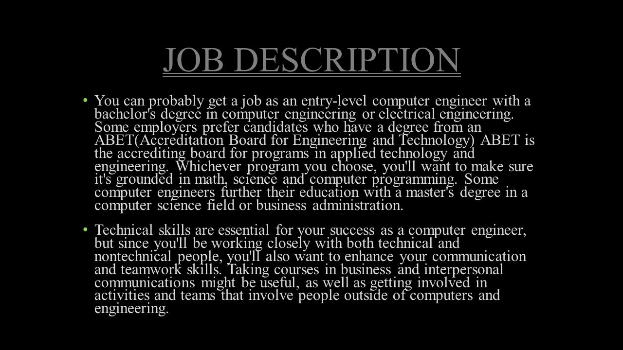 Awesome Computer Engineer Job Description COMPUTER ENGINEERING SAMUEL ROMERO Ppt  Video Online Download 2