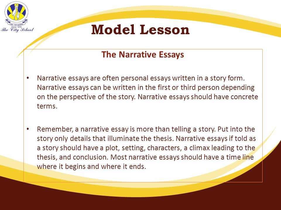 model personal narrative essay Be sure to review, also, the section on the narrative essaynarrative and personal essays have much in common we have included several sample essays in the narrative essay section.