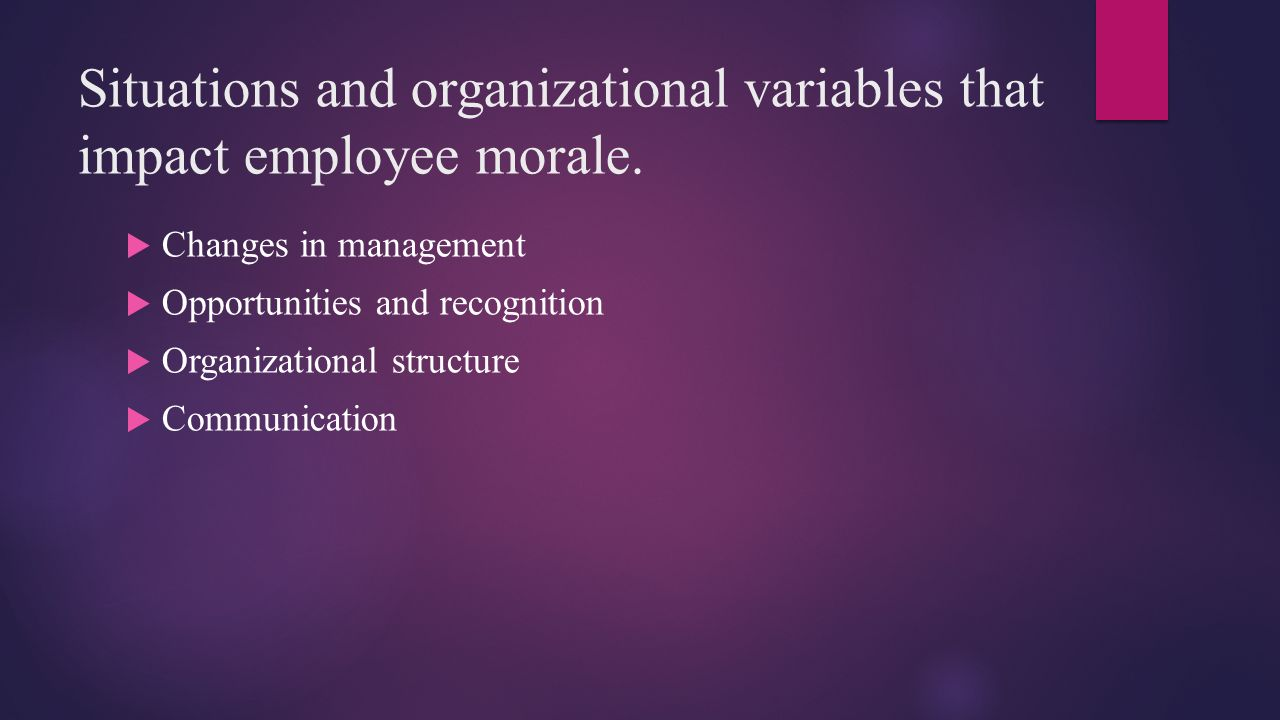 Situations and organizational variables that impact employee morale.
